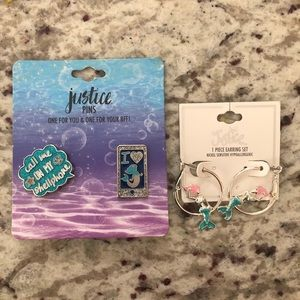 Justice Mermaid Pin and Earring Set